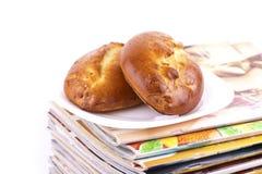 宏观杂志饼牌照栈白色 库存图片