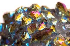 宏观矿物石钛石英,火焰在丝毫的气氛石英 免版税库存图片