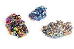 宏观矿物石钛石英,火焰在丝毫的气氛石英 免版税库存照片