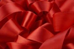 宏观红色丝带 免版税库存图片
