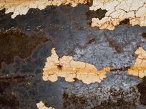 宏观纹理-金属-生锈的金属和削皮油漆 免版税库存图片