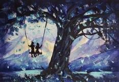宏观绘画童话、抽象男性和女孩在摇摆乘坐 背景重点山滑雪 对书的例证 免版税库存图片