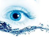宏观美丽的蓝眼睛 免版税库存图片