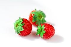 宏观草莓在一个白色碗关闭  库存照片