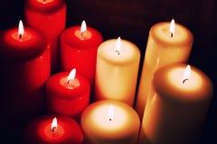 宏观蜡烛光集合 免版税图库摄影