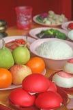 宗教中国食物课程祷告目的 库存图片