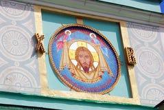 宗教图标 在沃罗比约夫的领港教会门面,莫斯科 库存图片