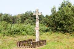 宗教木十字架 库存照片