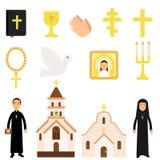 宗教标志和对象的汇集在平的样式 圣经,象,十字架,蜡烛,鸠,教会乘务员 皇族释放例证