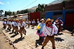 宗教节在一个小的秘鲁城市 库存照片