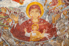宗教绘画在Sumela修道院里 免版税库存照片