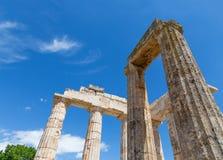宙斯寺庙在古老Nemea,伯罗奔尼撒,希腊 库存照片
