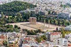 宙斯寺庙在雅典,希腊-旅行背景 库存图片