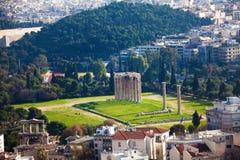 宙斯寺庙从上面,雅典,希腊 库存图片