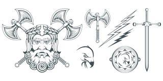 宙斯-天堂、雷和闪电的古希腊神 希腊神话 两面的轴、labrys和老鹰 奥林山神 免版税图库摄影