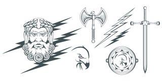 宙斯-天堂、雷和闪电的古希腊神 希腊神话 两面的轴labrys和老鹰 奥林山神 免版税库存照片