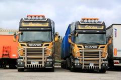 定制的两斯科讷欧元6辆卡车在最前面 免版税库存照片