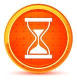 定时器沙子滴漏象自然橙色圆的按钮 皇族释放例证