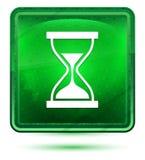 定时器沙子滴漏象霓虹浅绿色的方形的按钮 皇族释放例证