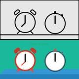定时器,时钟概要地平展 免版税库存图片