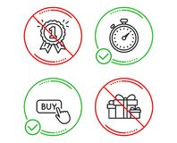 定时器,购买按钮和奖励象集合 假日提出标志 秒表小配件,网络购物,第一个地方 ?? 库存例证
