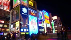 定期流逝射击了Glico广告牌大阪地标在Dotonbori 影视素材