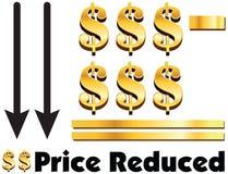 定价美元的减少的概念减美元的是相等的定价r 库存图片