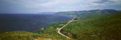 宜人的海湾全景在海角不列塔尼人,新斯科舍,加拿大的 免版税库存照片