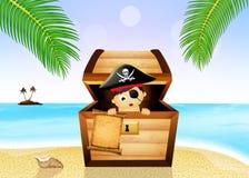 宝物箱的小海盗在海滩 免版税库存图片