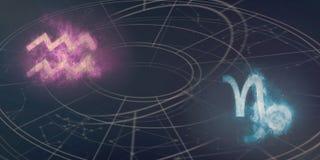 宝瓶星座和山羊座占星标志兼容性 抽象例证闪电夜空 免版税库存照片