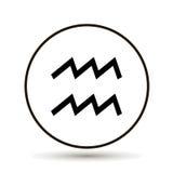 宝瓶星座黄道带标志 在圈子的占星术标志象 在whi 免版税库存照片