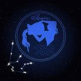 宝瓶星座黄道带的占星术星座 免版税库存照片