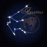 宝瓶星座黄道带的占星术星座 免版税库存图片