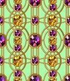 宝石无缝的样式 向量背景 魅力绿色背景 库存图片