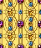 宝石无缝的样式 向量背景 魅力黄色背景 免版税库存图片