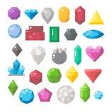 宝石集合平的设计  免版税库存照片