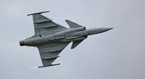 绅宝JAS 39 Gripen喷气机在飞行示范02时 免版税图库摄影