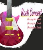 实况音乐海报模板 与吉他的摇滚乐音乐会, 免版税库存图片