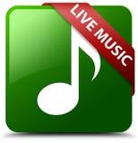 实况音乐绿色正方形按钮 免版税库存图片