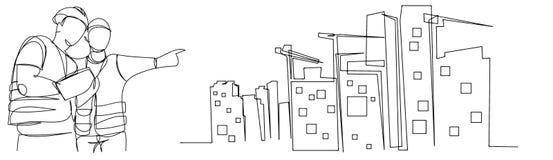 实线图画工程师楼房建筑监督简单传染媒介的例证 产业,家,产业 库存例证