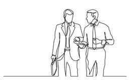 实线走两个的商人图画谈论成交 向量例证