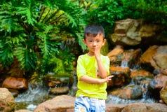 实践中国功夫的男孩 免版税库存照片