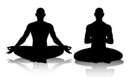 实践在莲花坐的人Silhouttes瑜伽 图库摄影