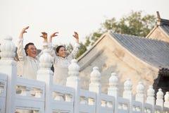实践太极拳的两个前辈在北京 免版税图库摄影