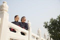 实践太极拳的两个前辈在北京 库存照片
