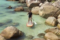 实践桨海浪 免版税库存照片