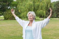 实践瑜伽蚂蚁tai池氏的最佳的老化妇女 免版税库存照片