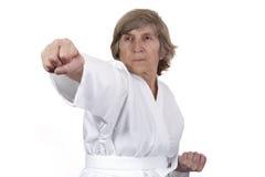 实践退休的自妇女的防御 免版税库存图片