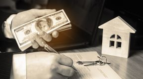实际概念的庄园 买卖家 租公寓 物产销售  税的抵押和付款 债务和贷款 Pur 库存照片