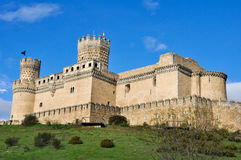 实际Manzanares el的城堡,马德里,西班牙 免版税库存照片